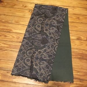 Christian Dior Green Blue Paisley Silk Scarf 54""